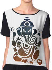 Shri Ganesha Watercolor Design Chiffon Top