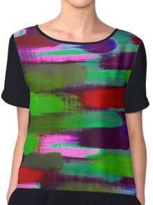 Green Red and Pink Brush Stroke Horizontal Lines Chiffon Top