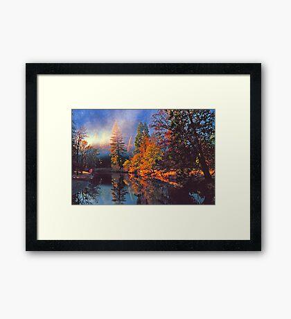 MISTY MORNING MERCED RIVER Framed Print