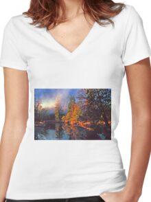 MISTY MORNING MERCED RIVER Women's Fitted V-Neck T-Shirt