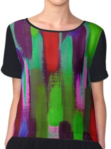 Red Green Abstract Brush Strokes Vertical Lines Chiffon Top