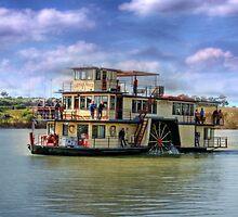 Captain Proud travelling upstream, Murray Bridge SA by Mark Richards