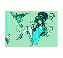 MONSTER ICE CREAMS - Mint choc chip vampire Art Print