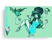 MONSTER ICE CREAMS - Mint choc chip vampire Canvas Print