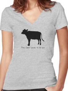 Cow Level-Black Women's Fitted V-Neck T-Shirt