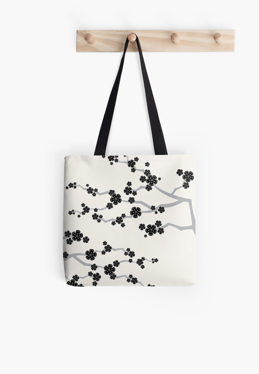 Zen Black Sakura Cherry Blossoms Flowers by fatfatin