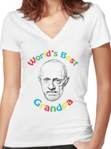 World's Best Grandpa Women's Fitted V-Neck T-Shirt