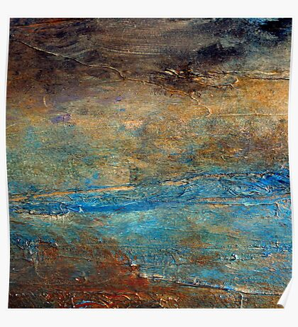 Contemporary Abstract Acrylic Textured Painting RUSTIC Artist Holly Anderson  Poster