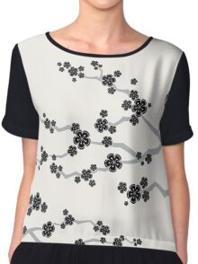 Zen Black Sakura Cherry Blossoms Flowers Chiffon Top