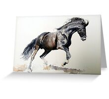 Horse In Watercolor Portrait   Greeting Card