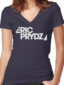 Eric Prydz white transparant Women's Fitted V-Neck T-Shirt