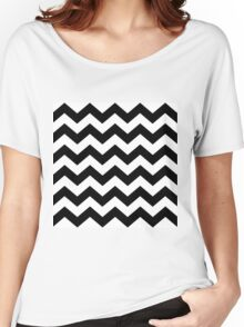 Black And White ZIG-ZAG Women's Relaxed Fit T-Shirt