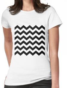 Black And White ZIG-ZAG Womens Fitted T-Shirt