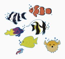 Clownfish and Friends Pattern One Piece - Short Sleeve