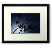 Palm Trees, Night Sky, Stars, Moon Framed Print
