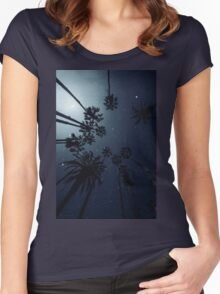 Palm Trees, Night Sky, Stars, Moon Women's Fitted Scoop T-Shirt