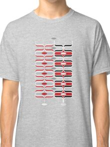 Retro Mod Ogee Red & Black Abstract Pod Pattern Classic T-Shirt