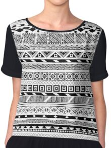 Aztec Black White Pattern Chiffon Top