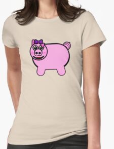 Girly Stuffed Pig Womens Fitted T-Shirt