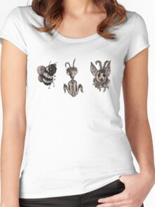 Bugs & Flowers (B&W) Women's Fitted Scoop T-Shirt
