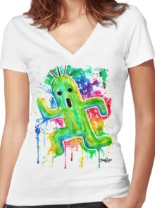 Cute Cactuar - Running Watercolor - Final fantasy - Jonny2may - Awesome!  Women's Fitted V-Neck T-Shirt