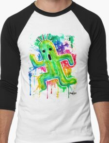 Cute Cactuar - Running Watercolor - Final fantasy - Jonny2may - Awesome!  Men's Baseball ¾ T-Shirt