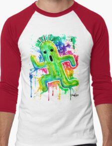 Cute Cactuar - Running Watercolor - Final fantasy - Jonny2may - Awesome!  Men's Baseball ¾ T-Shirt