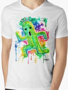 Cute Cactuar - Running Watercolor - Final fantasy - Jonny2may - Awesome!  Mens V-Neck T-Shirt