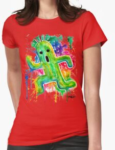 Cute Cactuar - Running Watercolor - Final fantasy - Jonny2may - Awesome!  Womens Fitted T-Shirt