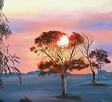 'Bushfire Sunrise!' Oil on Canvas, 'Arilka' Mount Pleasant, Adelaide Hills. by Rita Blom