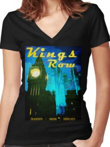 Overwatch - Vintage Travel Poster (King's Row) Women's Fitted V-Neck T-Shirt