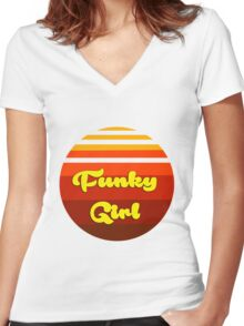 Funky Girl Women's Fitted V-Neck T-Shirt