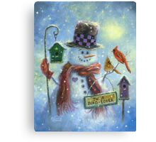 BIRD LOVER SNOWMAN Canvas Print
