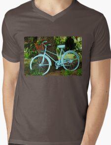Blue Garden Bicycle Mens V-Neck T-Shirt