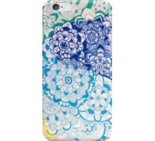 Zentangle Blue and Green Flowers iPhone Case/Skin