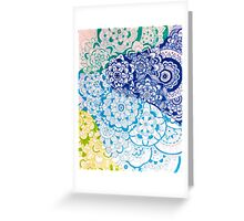 Zentangle Blue and Green Flowers Greeting Card