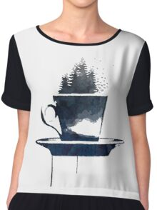 Watercolor Forest Cup of Tea Chiffon Top