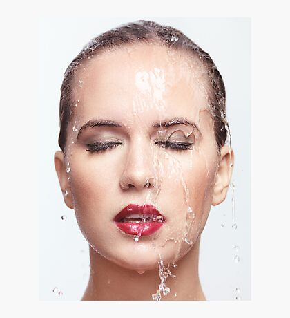 Woman face with water running over it art photo print Photographic Print