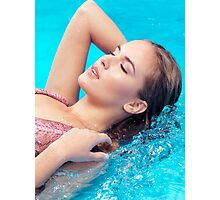 Beautiful woman lying in water closeup of face art photo print Photographic Print