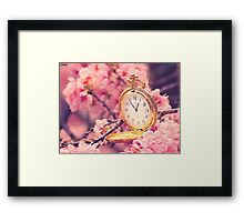 Clock and cherry blossoms Framed Print