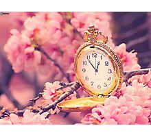 Clock and cherry blossoms Photographic Print