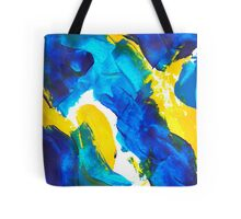 Blue, Yellow, and White Swatch Painting Tote Bag