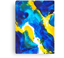 Blue, Yellow, and White Swatch Painting Canvas Print