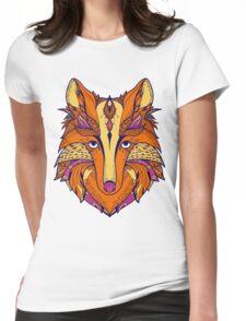 Zentangle stylized cartoon of fox Womens Fitted T-Shirt