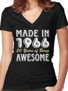 Made in 1966, 50 Years of Being Awesome (dark) Women's Fitted V-Neck T-Shirt
