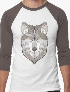 wolf, zentangle Men's Baseball ¾ T-Shirt