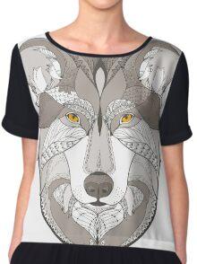 wolf, zentangle Chiffon Top