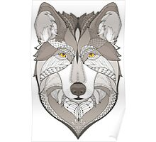 wolf, zentangle Poster