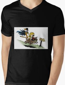 Calvin and Hobbes cosplaying Mens V-Neck T-Shirt