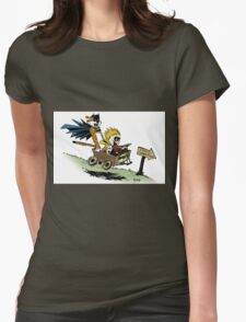Calvin and Hobbes cosplaying Womens Fitted T-Shirt